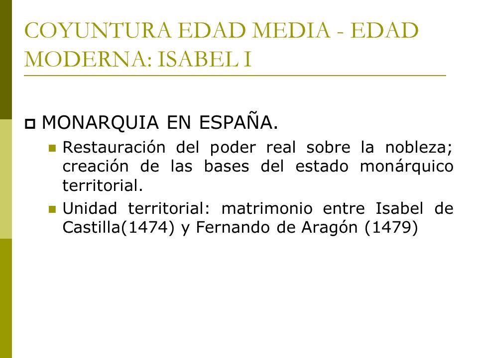 COYUNTURA EDAD MEDIA - EDAD MODERNA: ISABEL I MONARQUIA EN ESPAÑA. Restauración del poder real sobre la nobleza; creación de las bases del estado moná