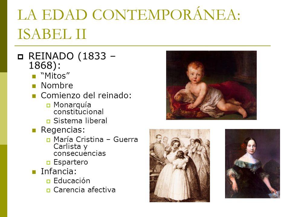 LA EDAD CONTEMPORÁNEA: ISABEL II REINADO (1833 – 1868): Mitos Nombre Comienzo del reinado: Monarquía constitucional Sistema liberal Regencias: María C