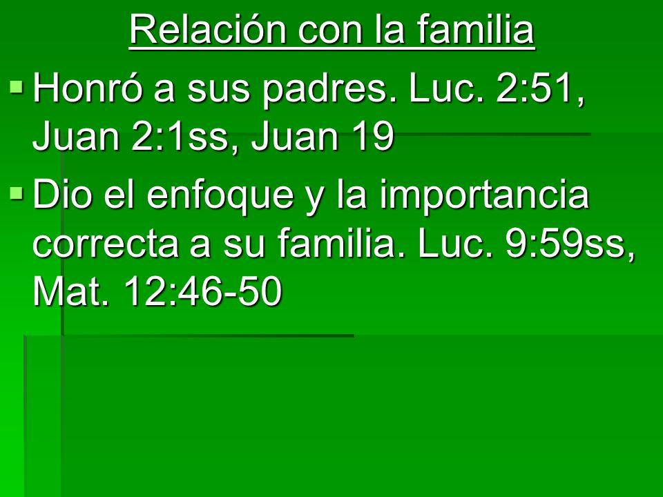 Relación con la familia Honró a sus padres. Luc. 2:51, Juan 2:1ss, Juan 19 Honró a sus padres. Luc. 2:51, Juan 2:1ss, Juan 19 Dio el enfoque y la impo