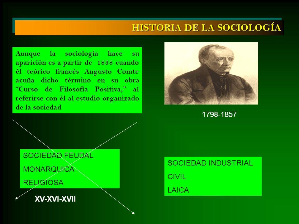 HISTORIA DE LA SOCIOLOGÍA Aunque la sociología hace su aparición es a partir de 1838 cuando él teórico francés Augusto Comte acuña dicho término en su