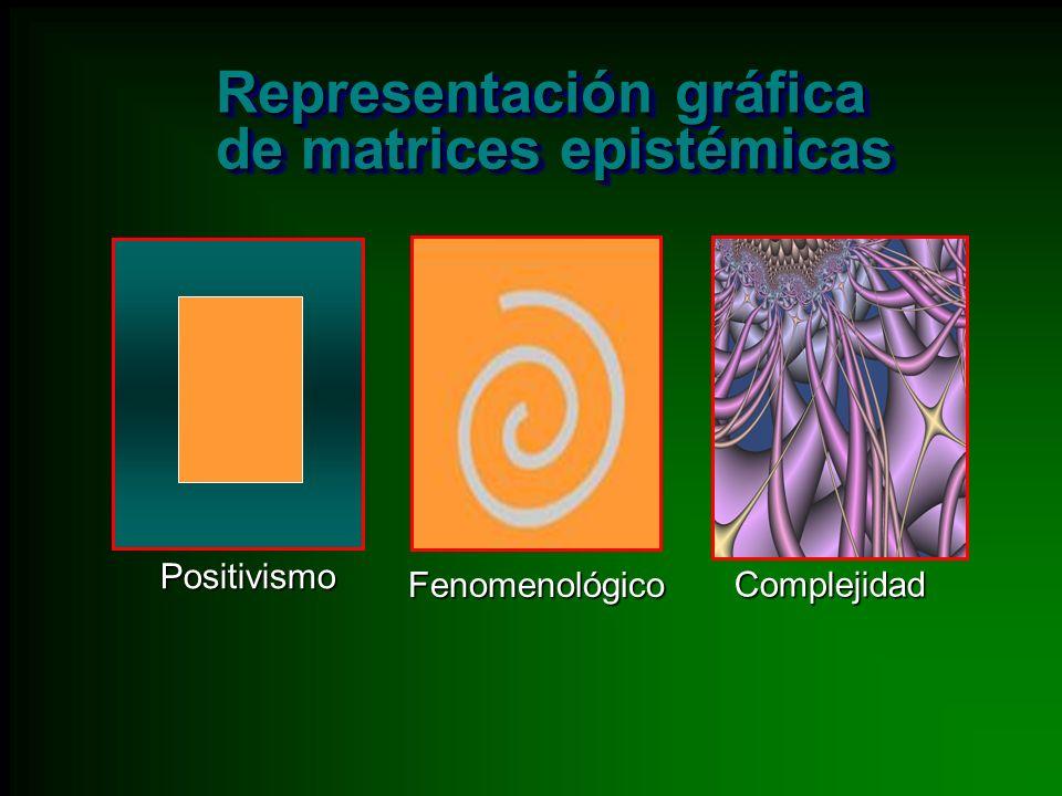 Representación gráfica de matrices epistémicas Representación gráfica de matrices epistémicas Positivismo Fenomenológico Complejidad