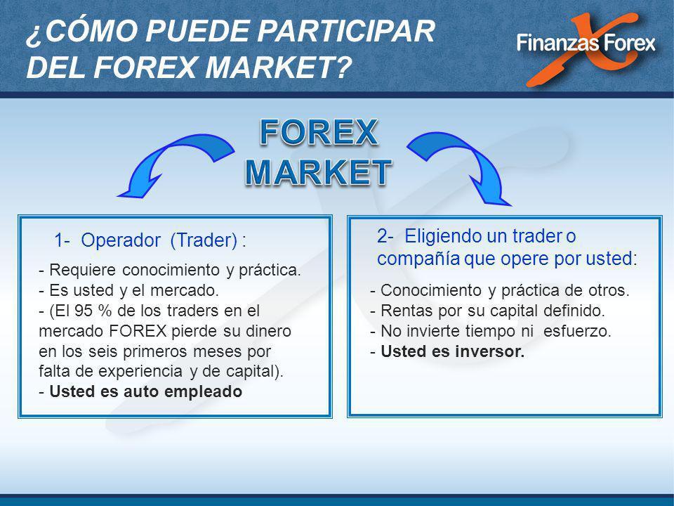 2- Eligiendo un trader o compañía que opere por usted: - Conocimiento y práctica de otros. - Rentas por su capital definido. - No invierte tiempo ni e