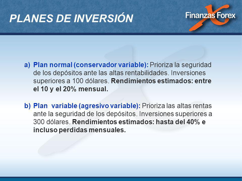 a)Plan normal (conservador variable): Prioriza la seguridad de los depósitos ante las altas rentabilidades. Inversiones superiores a 100 dólares. Rend