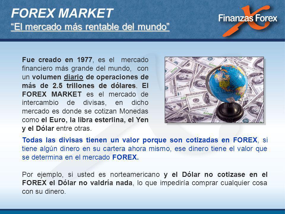 Se estima que el volumen promedio operado por la más grande Bolsa de Valores del mundo que es la Bolsa de Nueva York, en un mes completo no alcanza a mover: El volumen que se negocia en un solo día en el mercado FOREX.