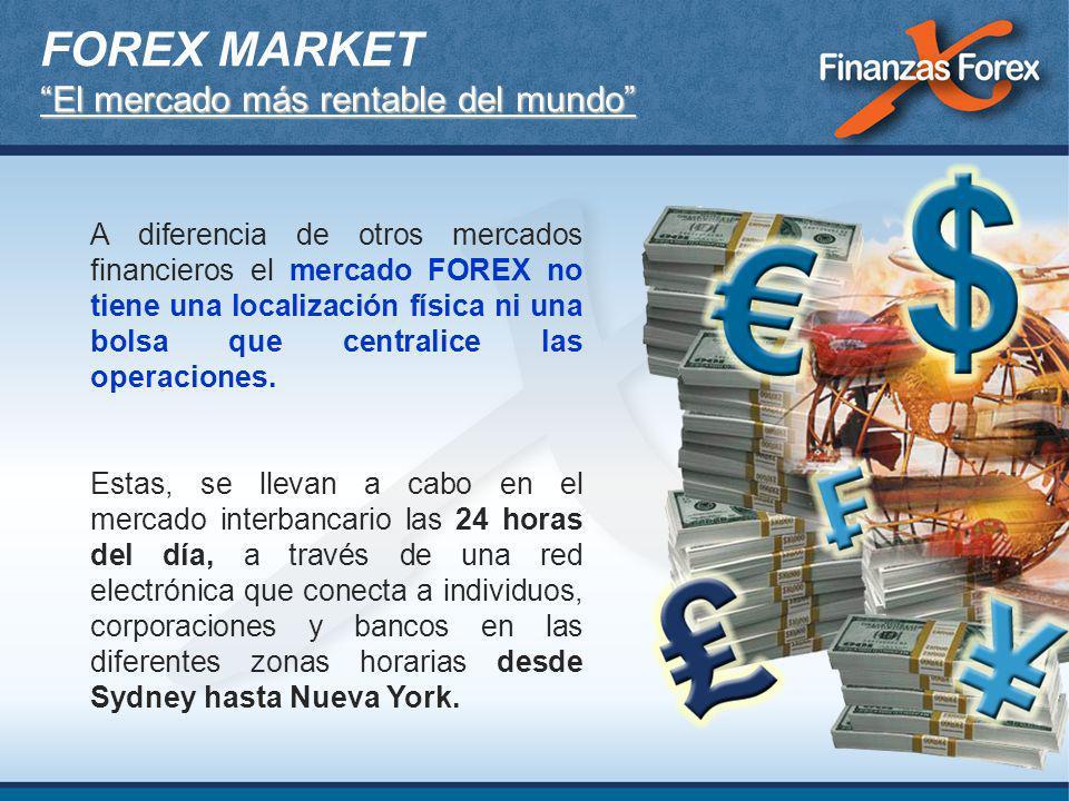 El mercado más rentable del mundo FOREX MARKET El mercado más rentable del mundo A diferencia de otros mercados financieros el mercado FOREX no tiene