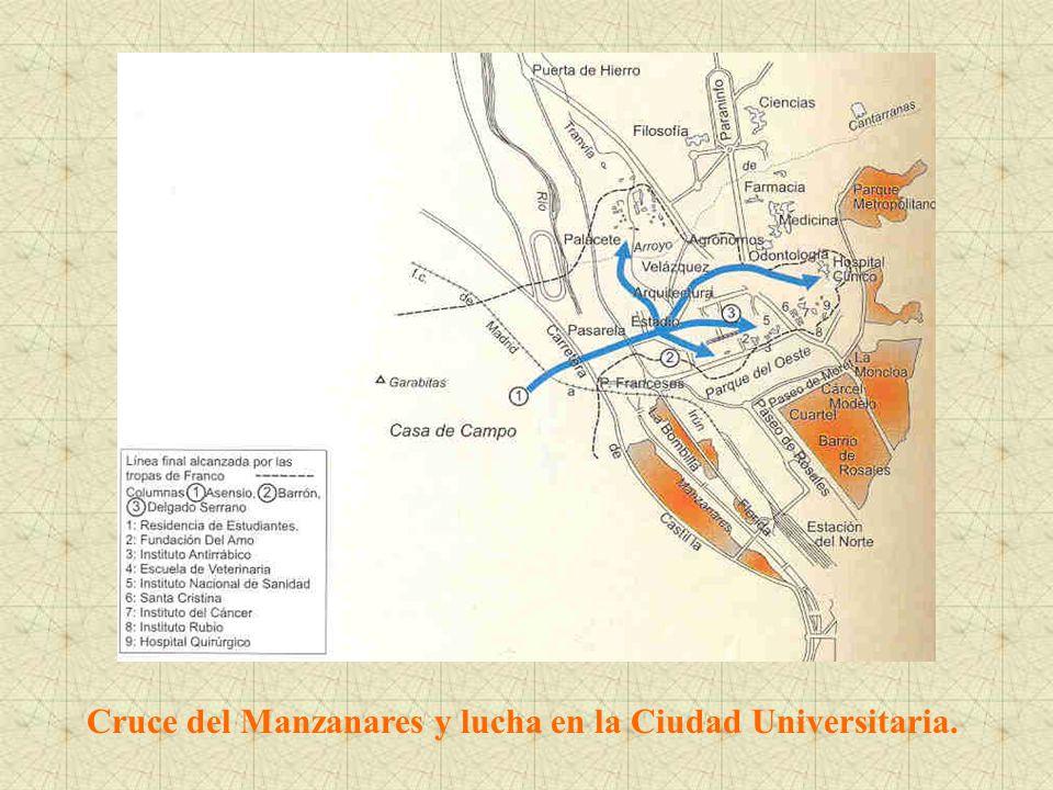Cruce del Manzanares y lucha en la Ciudad Universitaria.