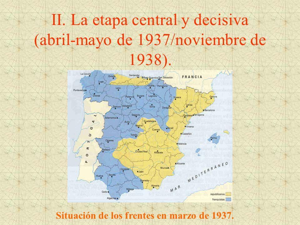 II. La etapa central y decisiva (abril-mayo de 1937/noviembre de 1938). Situación de los frentes en marzo de 1937.