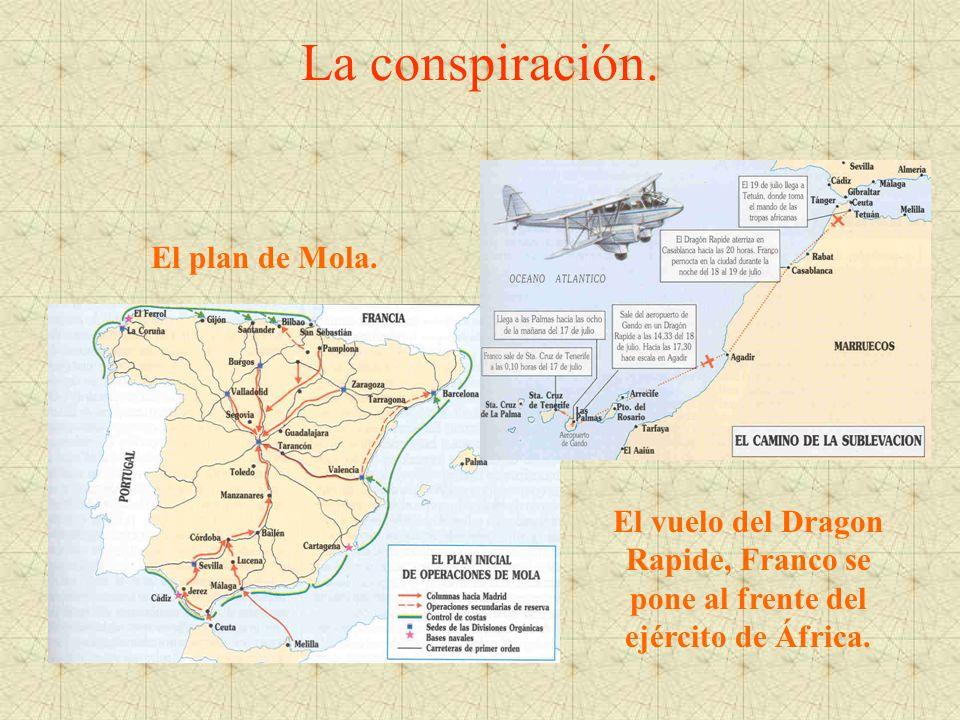 La conspiración. El plan de Mola. El vuelo del Dragon Rapide, Franco se pone al frente del ejército de África.