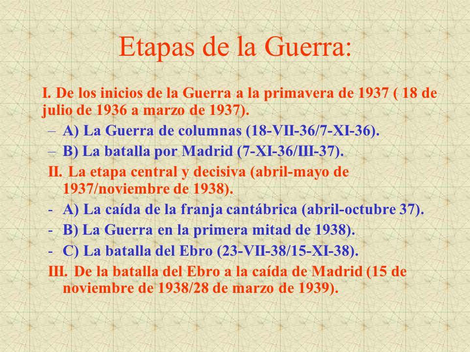 Etapas de la Guerra: I. De los inicios de la Guerra a la primavera de 1937 ( 18 de julio de 1936 a marzo de 1937). –A) La Guerra de columnas (18-VII-3