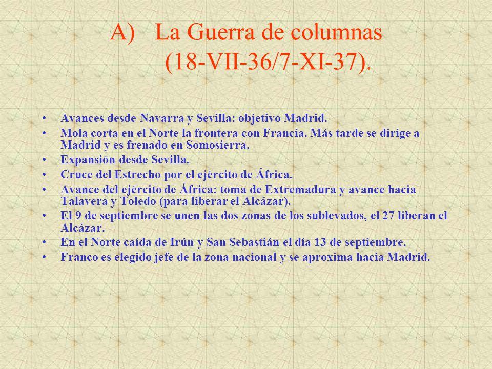 A)La Guerra de columnas (18-VII-36/7-XI-37). Avances desde Navarra y Sevilla: objetivo Madrid. Mola corta en el Norte la frontera con Francia. Más tar