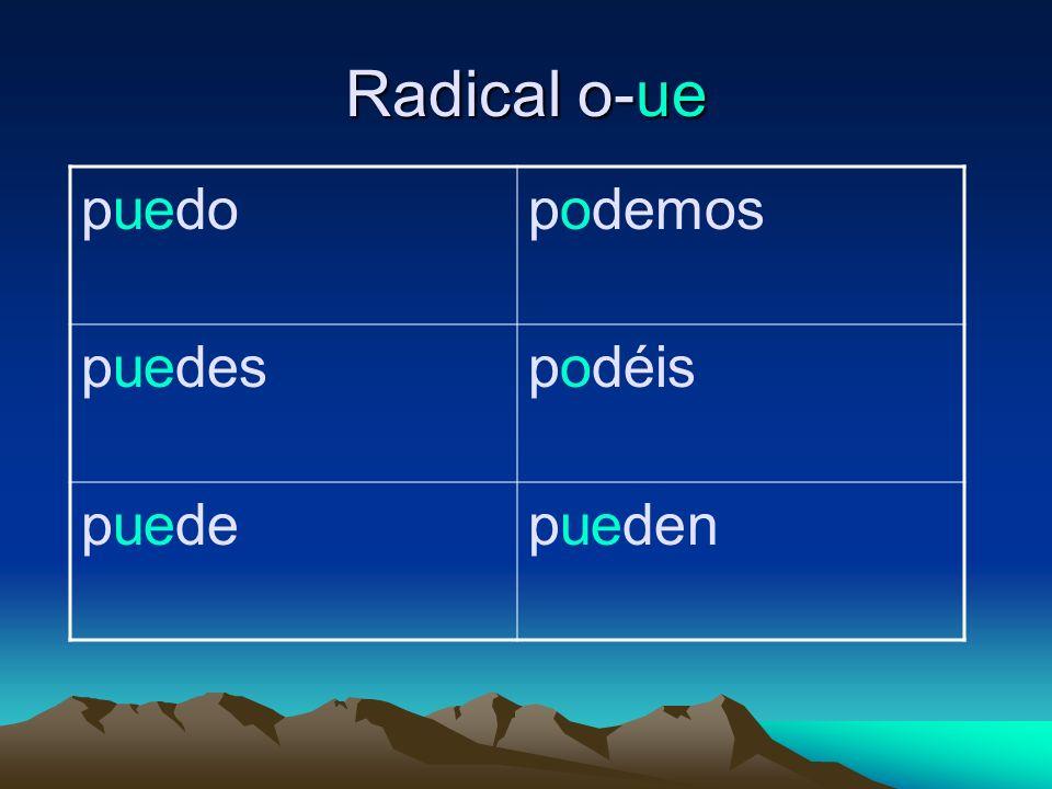 Radical o-ue puedopodemos puedespodéis puedepueden