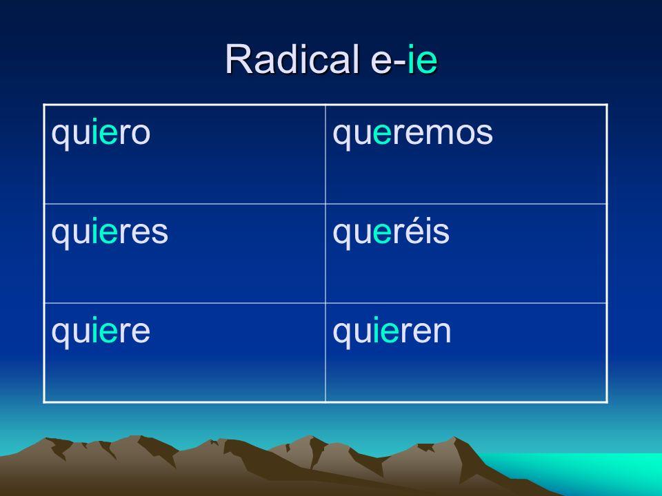 Radical e-ie quieroqueremos quieresqueréis quierequieren