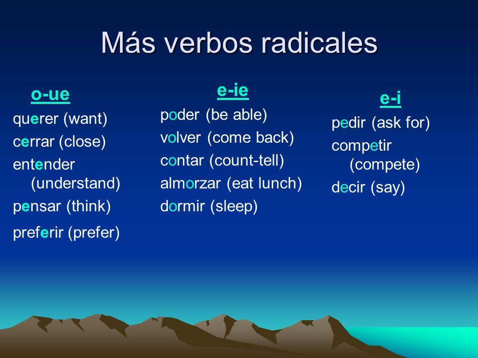 Más verbos radicales o-ue querer (want) cerrar (close) entender (understand) pensar (think) preferir (prefer) e-i pedir (ask for) competir (compete) d