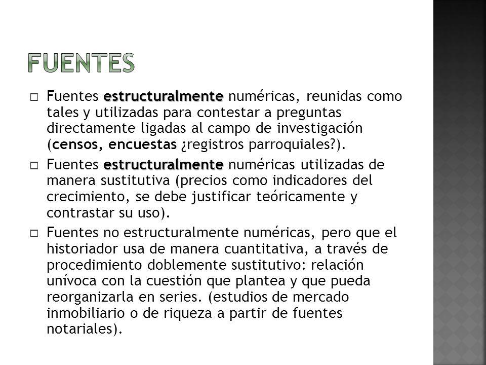 estructuralmente Fuentes estructuralmente numéricas, reunidas como tales y utilizadas para contestar a preguntas directamente ligadas al campo de investigación (censos, encuestas ¿registros parroquiales?).