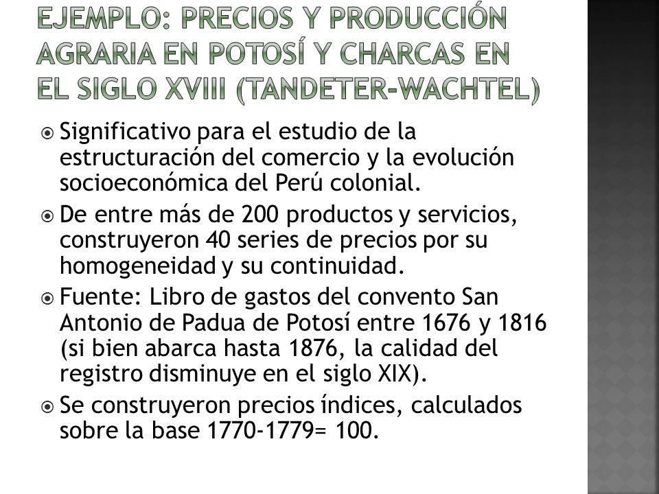 Significativo para el estudio de la estructuración del comercio y la evolución socioeconómica del Perú colonial.