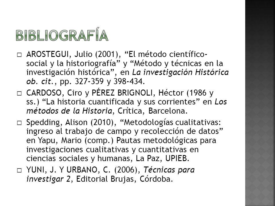 AROSTEGUI, Julio (2001), El método científico- social y la historiografía y Método y técnicas en la investigación histórica, en La investigación Histórica ob.