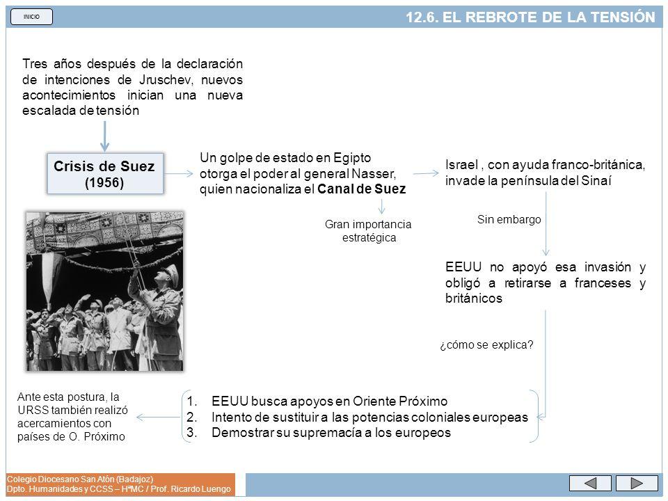 Colegio Diocesano San Atón (Badajoz) Dpto. Humanidades y CCSS – HªMC / Prof. Ricardo Luengo INICIO 12.6. EL REBROTE DE LA TENSIÓN Tres años después de