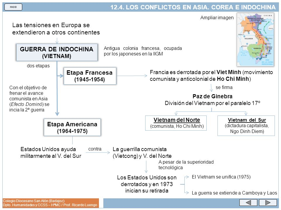 Colegio Diocesano San Atón (Badajoz) Dpto. Humanidades y CCSS – HªMC / Prof. Ricardo Luengo INICIO 12.4. LOS CONFLICTOS EN ASIA. COREA E INDOCHINA Las