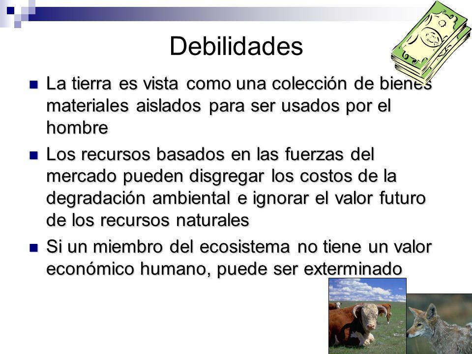 Debilidades La tierra es vista como una colección de bienes materiales aislados para ser usados por el hombre La tierra es vista como una colección de