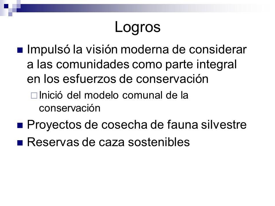 Logros Impulsó la visión moderna de considerar a las comunidades como parte integral en los esfuerzos de conservación Inició del modelo comunal de la