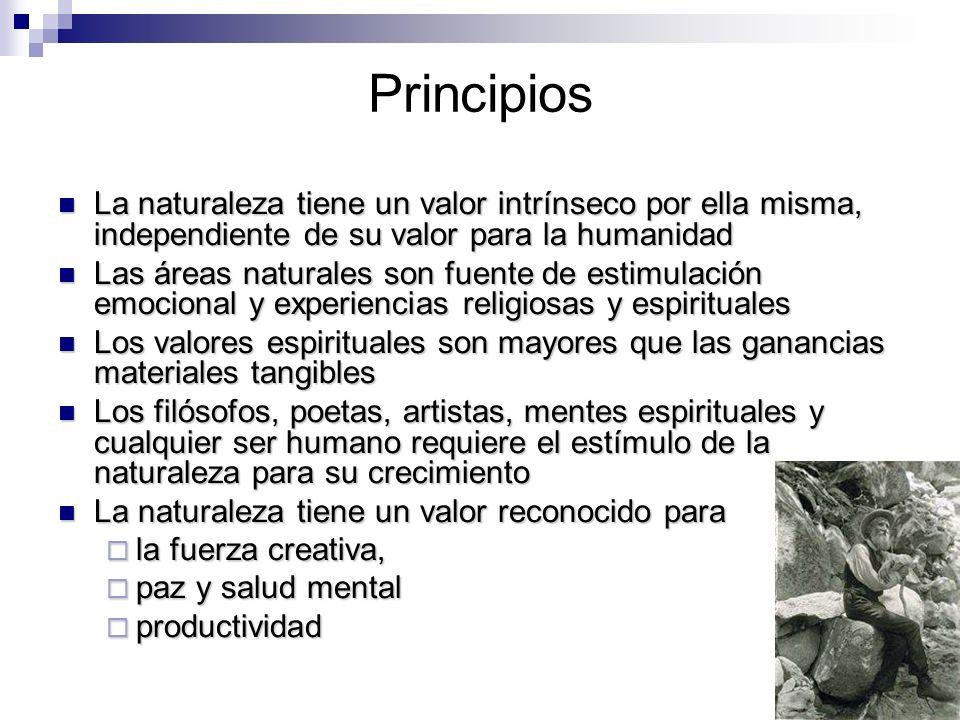 Principios La naturaleza tiene un valor intrínseco por ella misma, independiente de su valor para la humanidad La naturaleza tiene un valor intrínseco