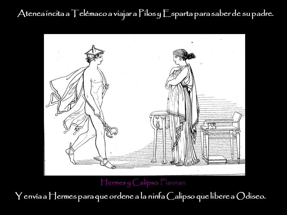 Atenea incita a Telémaco a viajar a Pilos y Esparta para saber de su padre. Hermes y Calipso. Flaxman. Y envía a Hermes para que ordene a la ninfa Cal