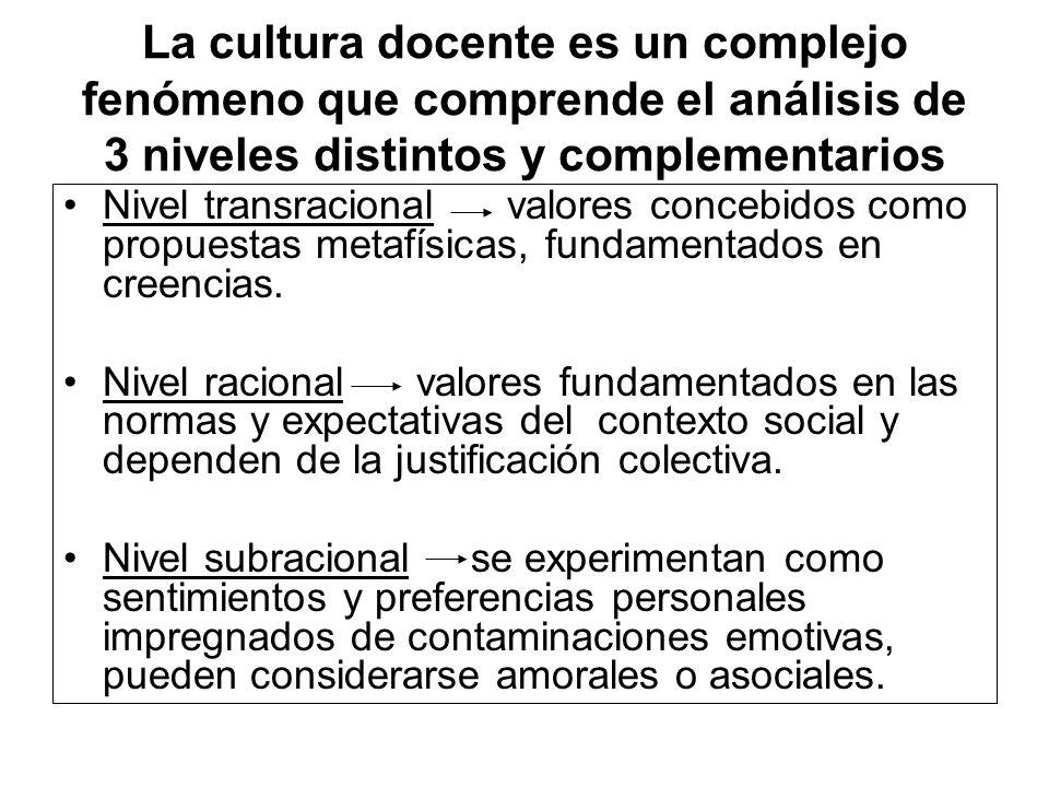 La cultura docente es un complejo fenómeno que comprende el análisis de 3 niveles distintos y complementarios Nivel transracional valores concebidos c