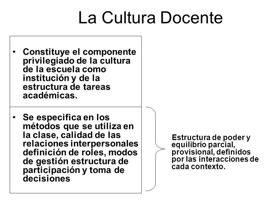 La Cultura Docente Constituye el componente privilegiado de la cultura de la escuela como institución y de la estructura de tareas académicas. Se espe