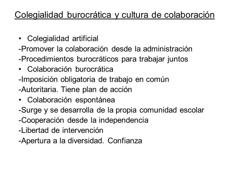 Colegialidad burocrática y cultura de colaboración Colegialidad artificial -Promover la colaboración desde la administración -Procedimientos burocráti