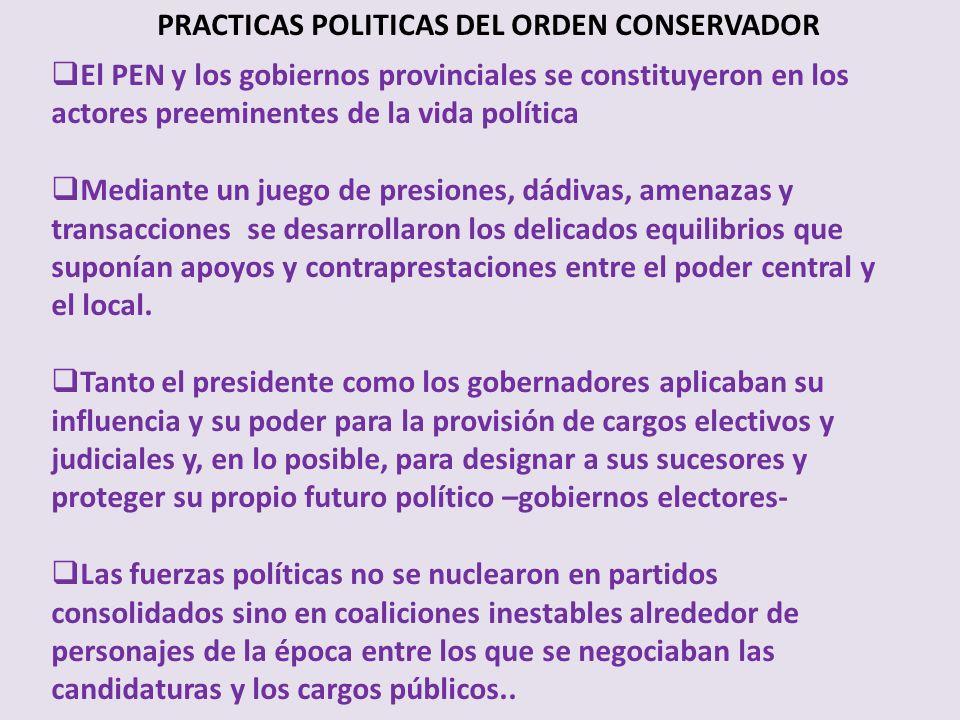 PRACTICAS POLITICAS DEL ORDEN CONSERVADOR El PEN y los gobiernos provinciales se constituyeron en los actores preeminentes de la vida política Mediant