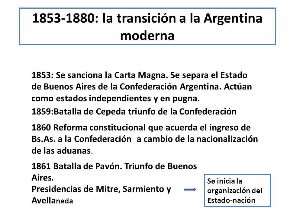1853-1880: la transición a la Argentina moderna 1853: Se sanciona la Carta Magna. Se separa el Estado de Buenos Aires de la Confederación Argentina. A