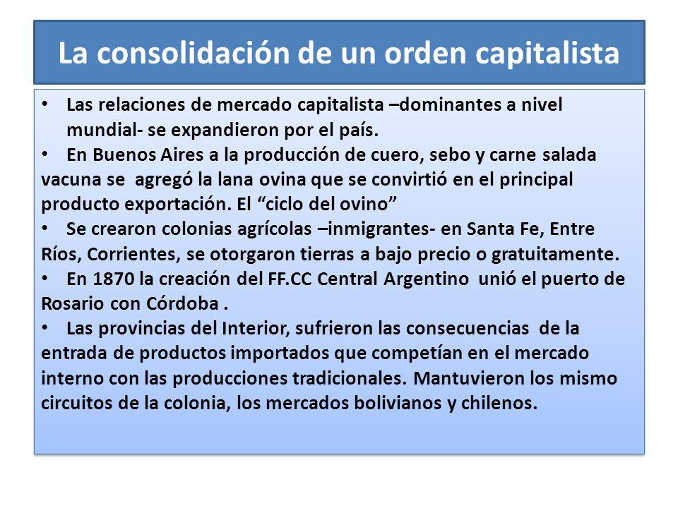 La consolidación de un orden capitalista Las relaciones de mercado capitalista –dominantes a nivel mundial- se expandieron por el país. En Buenos Aire