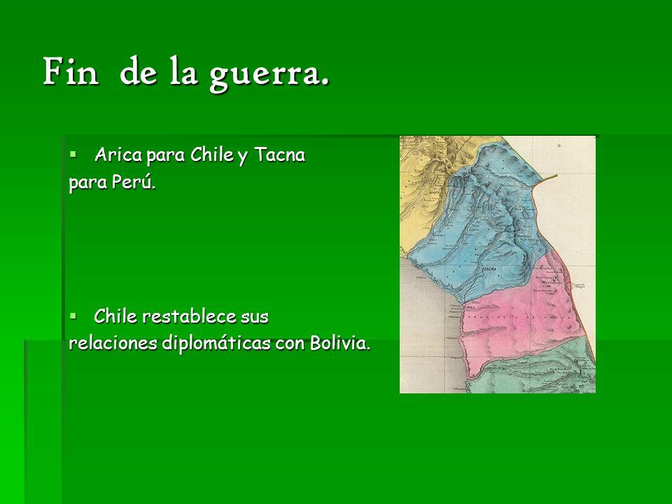 Fin de la guerra. Arica para Chile y Tacna Arica para Chile y Tacna para Perú. Chile restablece sus Chile restablece sus relaciones diplomáticas con B