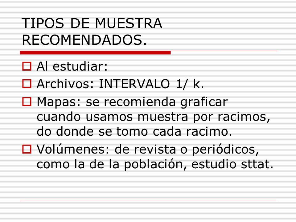 TIPOS DE MUESTRA RECOMENDADOS. Al estudiar: Archivos: INTERVALO 1/ k. Mapas: se recomienda graficar cuando usamos muestra por racimos, do donde se tom