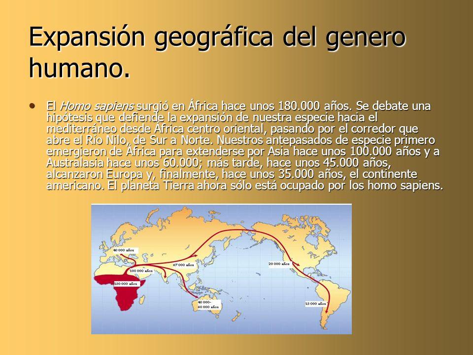 Expansión geográfica del genero humano. El Homo sapiens surgió en África hace unos 180.000 años. Se debate una hipótesis que defiende la expansión de