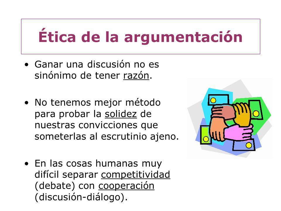 Ética de la argumentación Se debe canalizar la competencia de modo de que se produzcan resultados favorables para todos.