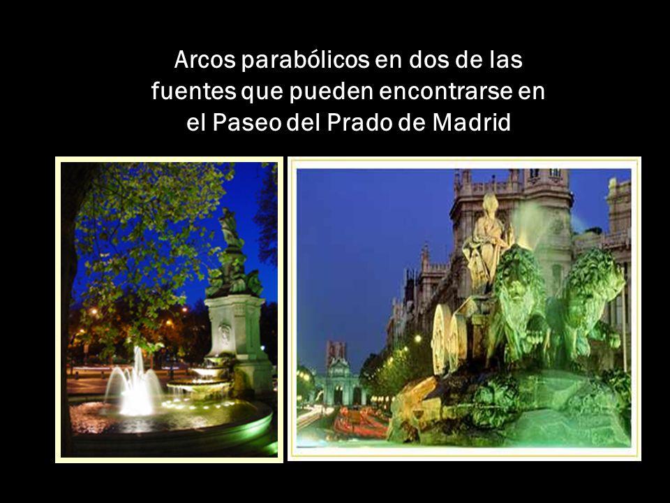 Arcos parabólicos en dos de las fuentes que pueden encontrarse en el Paseo del Prado de Madrid