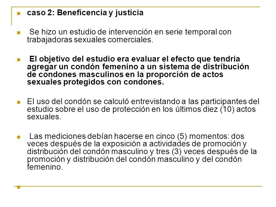 caso 2: Beneficencia y justicia Se hizo un estudio de intervención en serie temporal con trabajadoras sexuales comerciales. El objetivo del estudio er