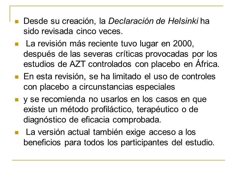 Desde su creación, la Declaración de Helsinki ha sido revisada cinco veces. La revisión más reciente tuvo lugar en 2000, después de las severas crític