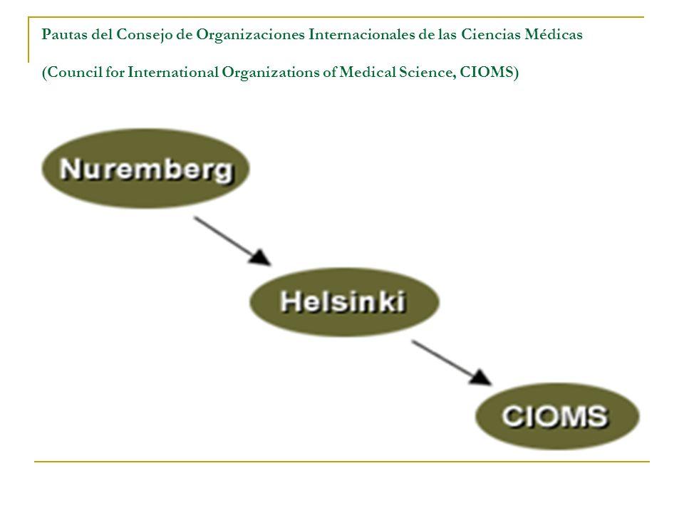 Pautas del Consejo de Organizaciones Internacionales de las Ciencias Médicas (Council for International Organizations of Medical Science, CIOMS)