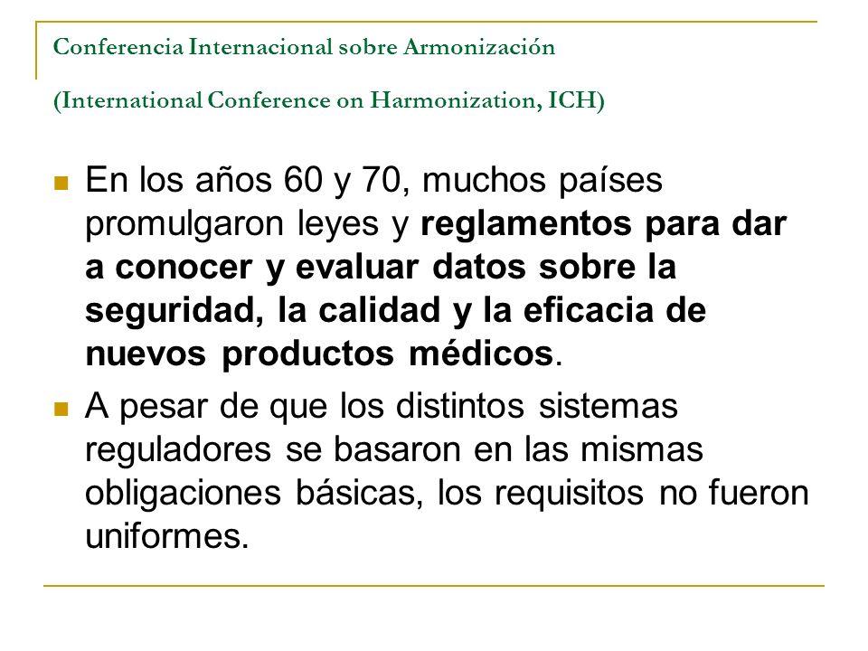 Conferencia Internacional sobre Armonización (International Conference on Harmonization, ICH) En los años 60 y 70, muchos países promulgaron leyes y r