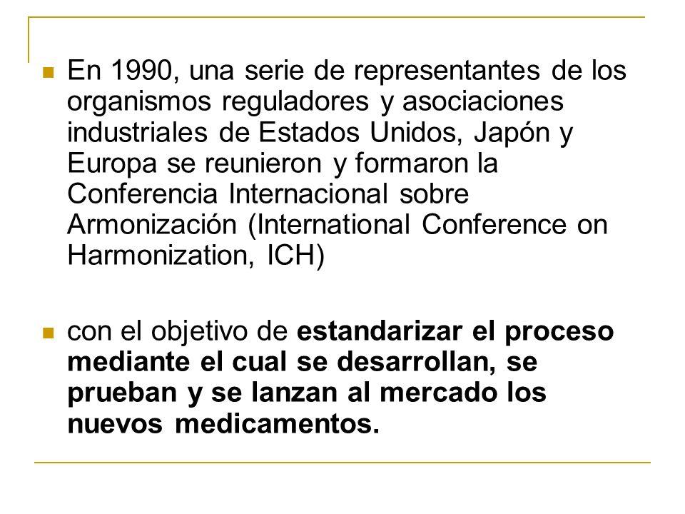 En 1990, una serie de representantes de los organismos reguladores y asociaciones industriales de Estados Unidos, Japón y Europa se reunieron y formar