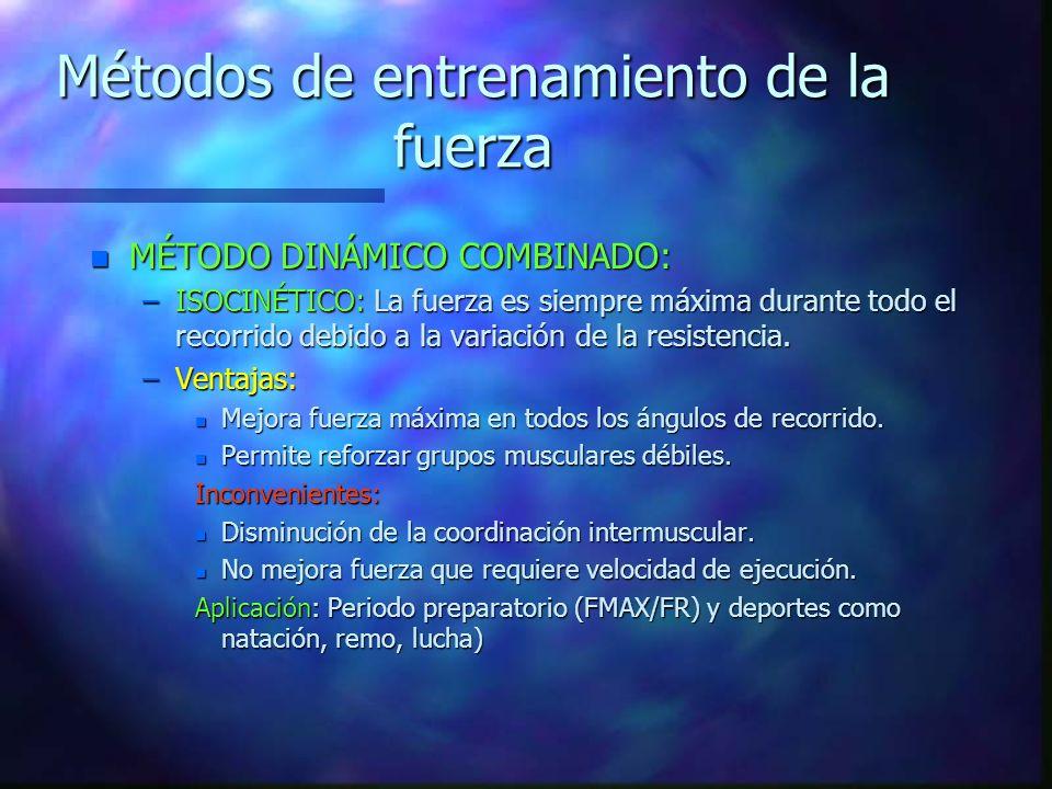 Métodos de entrenamiento de la fuerza n MÉTODODO DINÁMICO NEGATIVO= EXCÉNTRICO. n VENTAJAS: –Permite tensiones superiores a mov.din.positivos(50%) y e