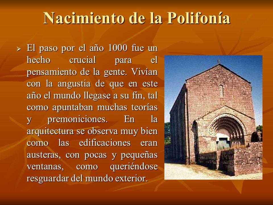 Nacimiento de la Polifonía El paso por el año 1000 fue un hecho crucial para el pensamiento de la gente. Vivían con la angustia de que en este año el