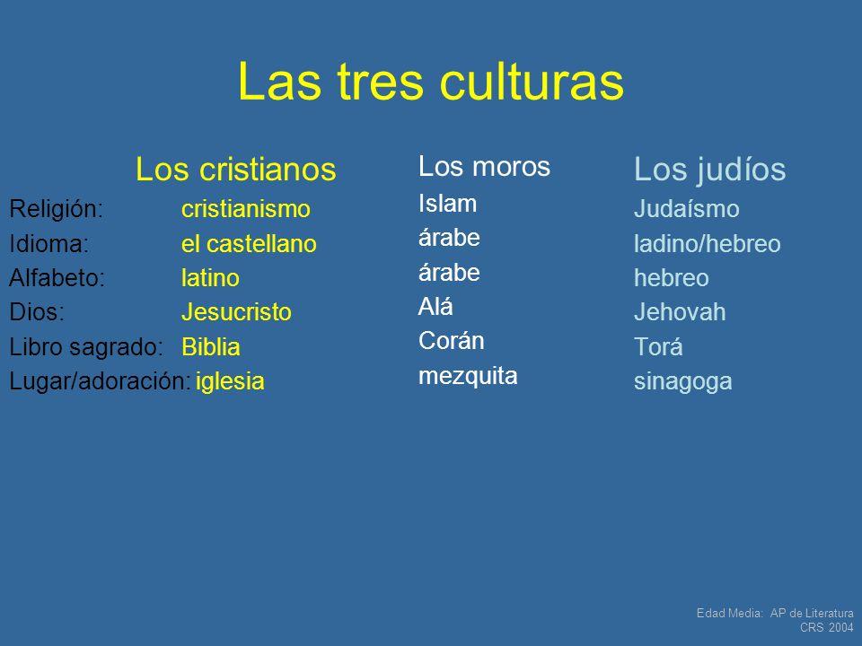 Edad Media: AP de Literatura CRS 2004 Las tres culturas Los cristianos Religión: cristianismo Idioma:el castellano Alfabeto:latino Dios: Jesucristo Li
