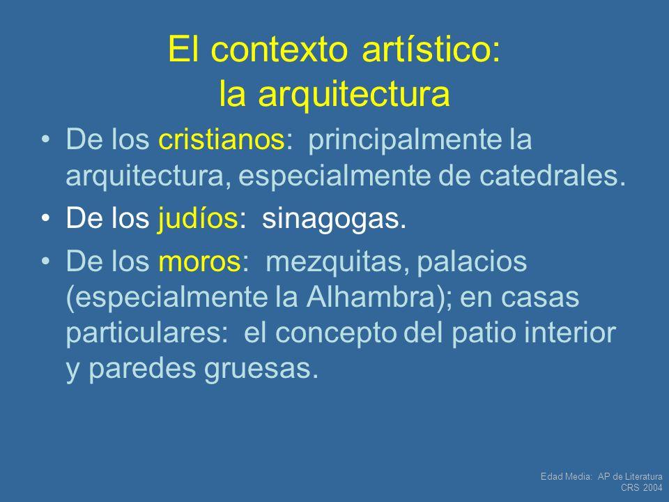 Edad Media: AP de Literatura CRS 2004 Edad Media: Obra importante que NO está en la lista AP: Poema épico: El cantar del Mío Cid.