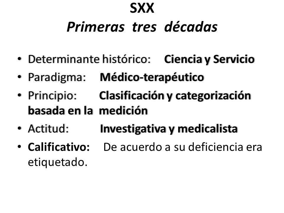 SXX Primeras tres décadas Determinante histórico: Ciencia y Servicio Determinante histórico: Ciencia y Servicio Paradigma: Médico-terapéutico Paradigm