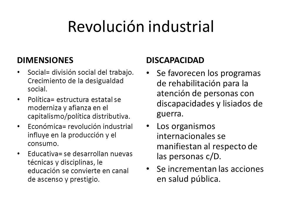 Revolución industrial DIMENSIONES Social= división social del trabajo. Crecimiento de la desigualdad social. Política= estructura estatal se moderniza