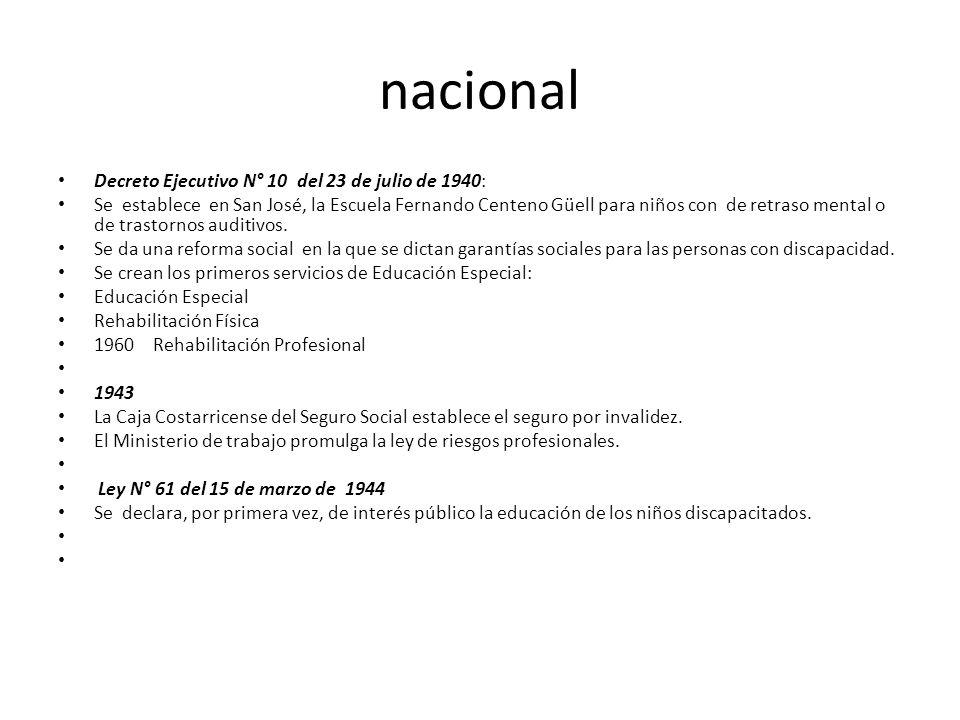 nacional Decreto Ejecutivo N° 10 del 23 de julio de 1940: Se establece en San José, la Escuela Fernando Centeno Güell para niños con de retraso mental