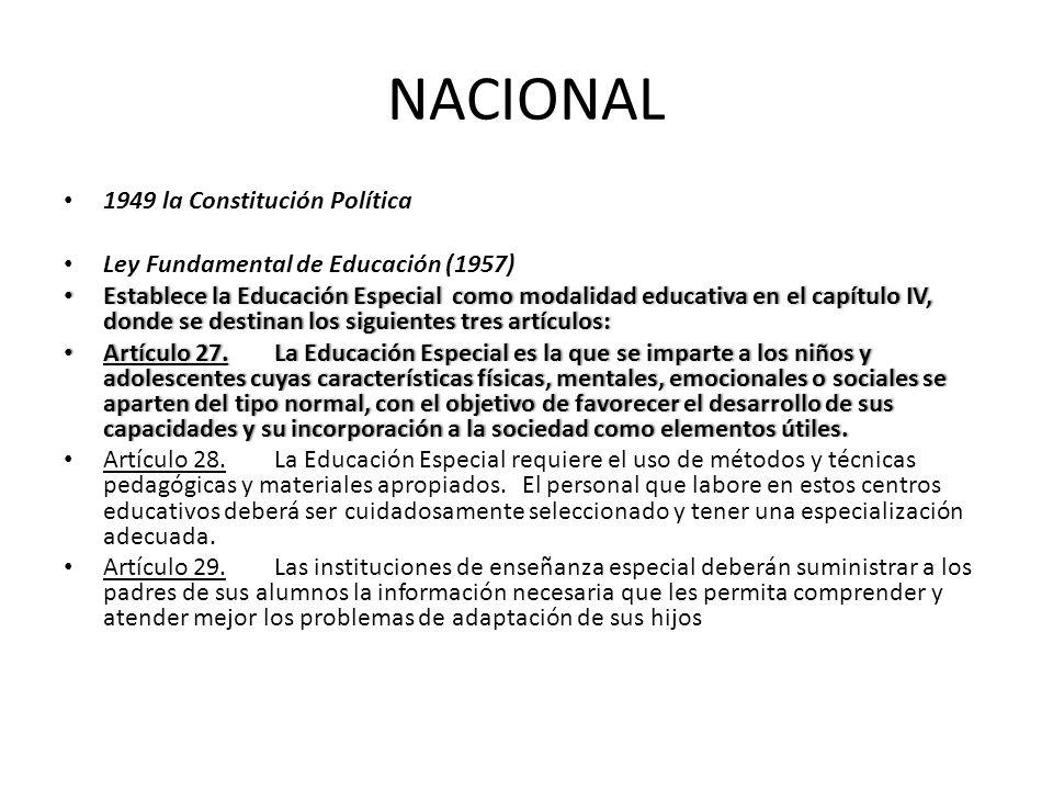 NACIONAL 1949 la Constitución Política Ley Fundamental de Educación (1957) Establece la Educación Especial como modalidad educativa en el capítulo IV,